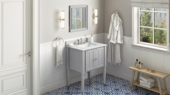 "Jeffrey Alexander 30"" Grey Jensen Vanity, White Carrara Marble Vanity Top, undermount rectangle bowl VKITJEN30GRWCR"