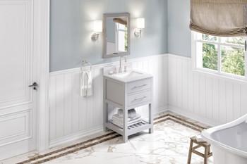 "Jeffrey Alexander 24"" Grey Wavecrest Vanity, White Carrara Marble Vanity Top, undermount rectangle bowl VKITWAV24GRWCR"