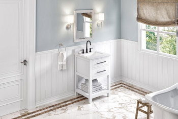 "Jeffrey Alexander 24"" White Wavecrest Vanity, White Carrara Marble Vanity Top, undermount rectangle bowl VKITWAV24WHWCR"