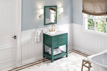 "Jeffrey Alexander 30"" Forest Green Wavecrest Vanity, White Carrara Marble Vanity Top, undermount rectangle bowl VKITWAV30GNWCR"