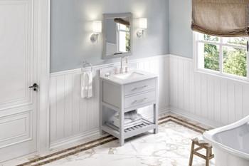 "Jeffrey Alexander 30"" Grey Wavecrest Vanity, White Carrara Marble Vanity Top, undermount rectangle bowl VKITWAV30GRWCR"