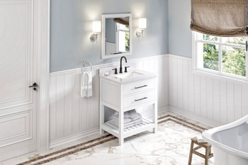 "Jeffrey Alexander 30"" White Wavecrest Vanity, White Carrara Marble Vanity Top, undermount rectangle bowl VKITWAV30WHWCR"