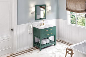 "Jeffrey Alexander 36"" Forest Green Wavecrest Vanity, White Carrara Marble Vanity Top, undermount rectangle bowl VKITWAV36GNWCR"