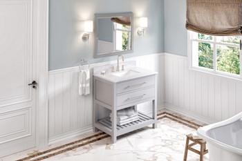 "Jeffrey Alexander 36"" Grey Wavecrest Vanity, White Carrara Marble Vanity Top, undermount rectangle bowl VKITWAV36GRWCR"