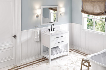 "Jeffrey Alexander 36"" White Wavecrest Vanity, White Carrara Marble Vanity Top, undermount rectangle bowl VKITWAV36WHWCR"