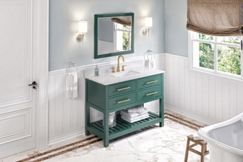 "Jeffrey Alexander 48"" Forest Green Wavecrest Vanity, White Carrara Marble Vanity Top, undermount rectangle bowl VKITWAV48GNWCR"