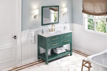 "Jeffrey Alexander 48"" Forest Green Wavecrest Vanity, White Carrara Marble Vanity Top, undermount rectangle bowl VKITWAV48GNWCR"