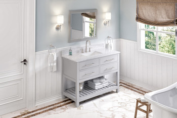 "Jeffrey Alexander 48"" Grey Wavecrest Vanity, White Carrara Marble Vanity Top, undermount rectangle bowl VKITWAV48GRWCR"