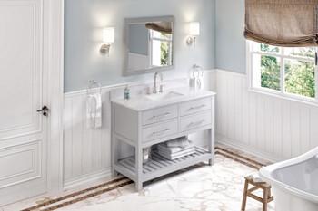 "Jeffrey Alexander 48"" Grey Wavecrest Vanity, White Carrara Marble Vanity Top, undermount rectangle bowl VKITWAV48GRWCR"