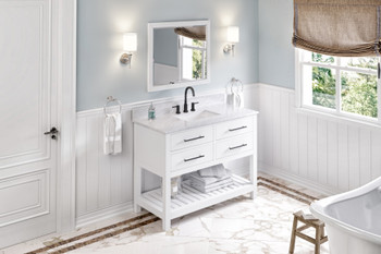 "Jeffrey Alexander 48"" White Wavecrest Vanity, White Carrara Marble Vanity Top, undermount rectangle bowl VKITWAV48WHWCR"