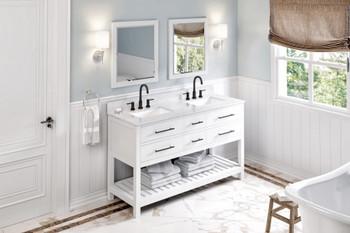 "Jeffrey Alexander 60"" White Wavecrest Vanity, double bowl, White Carrara Marble Vanity Top, two undermount rectangle bowls VKITWAV60WHWCR"