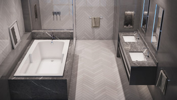 Malibu Coronado Rectangular Soaking Bathtub, 60-Inch by 32-Inch by 22-Inch, White or Biscuit