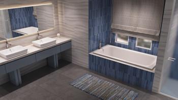 Malibu Sanibel Rectangular Soaking Bathtub, 60-Inch by 32-Inch by 22-Inch, White or Biscuit