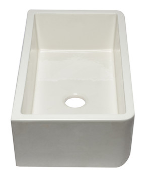 """33"""" Biscuit Smooth Apron Solid Thick Wall Fireclay Single Bowl Farm Sink"""