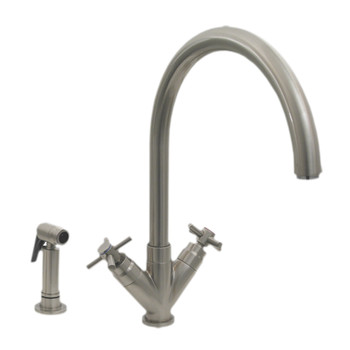 Whitehaus 3-03942SS85-BN Luxe+ Dual Handles Kitchen Faucet with Swivel Spout in Brushed Nickel