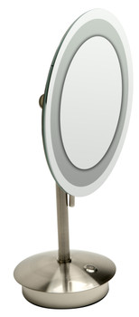 """ALFI brandABM9FLED-BN Brushed Nickel Tabletop Round 9"""" 5x Magnifying Cosmetic Mirror with Light"""