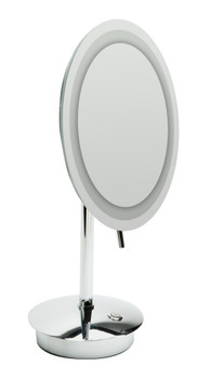 """ALFI brandABM9FLED-PCPolished Chrome Tabletop Round 9"""" 5x Magnifying Cosmetic Mirror with Light"""