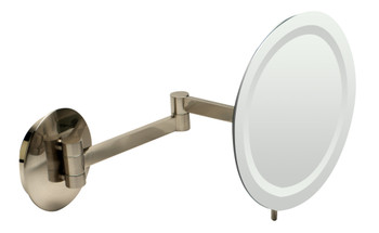 """ALFI brandABM9WLED-BNBrushed Nickel Wall Mount Round 9"""" 5x Magnifying Cosmetic Mirror with Light"""