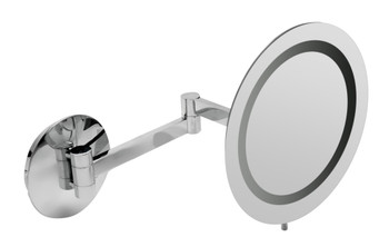"""ALFI brandABM9WLED-PCPolished Chrome Wall Mount Round 9"""" 5x Magnifying Cosmetic Mirror with Light"""