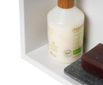 "ALFI brand 12"" x 12"" Black Matte Stainless Steel Square Single Shelf Bath Shower Niche"