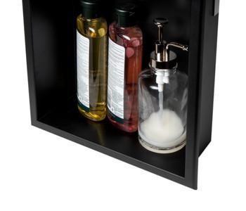 "ALFI brand 12"" x 12"" White Matte Stainless Steel Square Single Shelf Bath Shower Niche"