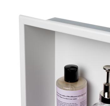 ALFI brand 12 x 24 Black Matte Stainless Steel Vertical Double Shelf Bath Shower Niche