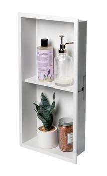 ALFI brand 12 x 24 White Matte Stainless Steel Vertical Double Shelf Bath Shower Niche