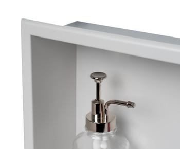 ALFI brand 24 x 12 Black Matte Stainless Steel Horizontal Single Shelf Bath Shower Niche