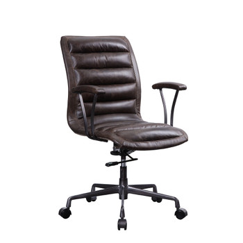 ACME 92558 Zooey Executive Office Chair, Distress Chocolate Top Grain Leather