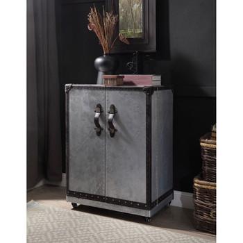 ACME 97802 Brancaster Wine Cabinet, Antique Ebony Top Grain Leather & Aluminum
