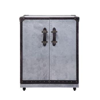 ACME Brancaster Wine Cabinet, Antique Ebony Top Grain Leather & Aluminum