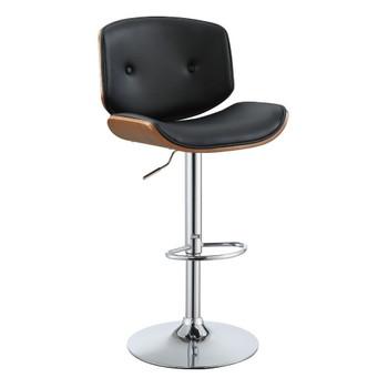 "ACME Camila Adjustable Stool w/Swivel (1Pc), Black PU & Walnut, 26""~34"" Seat Height"