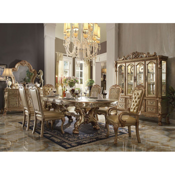 ACME Dresden Dining Table with Trestle Pedestal, Gold Patina & Bone (1Set/2Ctn)