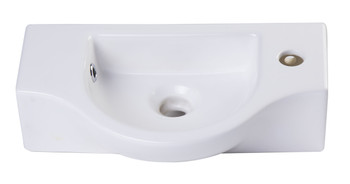 ALFI brand AB105 Small White Wall Mounted Ceramic Bathroom Sink Basin