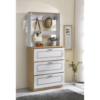 ACME 97834 Hewett Shoe Cabinet, Light Oak & White Finish