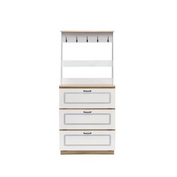ACME Hewett Shoe Cabinet, Light Oak & White Finish