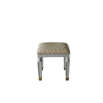 ACME 96860 House Marchese Stool, Beige PU & Pearl Gray Finish