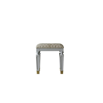 ACME House Marchese Stool, Beige PU & Pearl Gray Finish