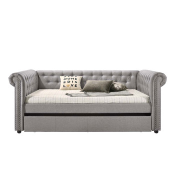 ACME Justice Full Daybed & Twin Trundle, Smoke Gray Fabric