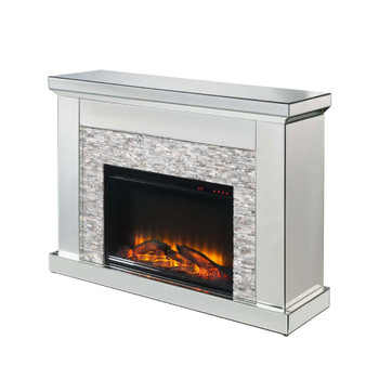 ACME 90522 Laksha Fireplace, Mirrored & Stone