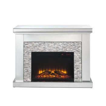 ACME Laksha Fireplace, Mirrored & Stone