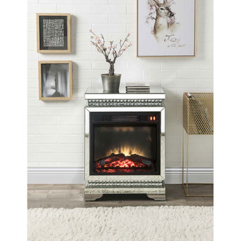 ACME 90870 Lotus Fireplace, Mirrored & Faux Diamonds