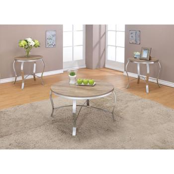 ACME Malai 3Pc Pack Coffee/End Table Set, Weathered Light Oak & Chrome