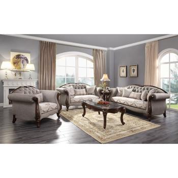 ACME 55365 Miyeon Sofa with 5 Pillows, Fabric & Cherry
