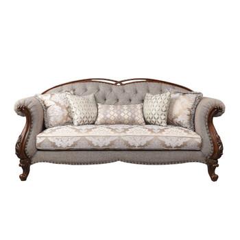 ACME Miyeon Sofa w/5 Pillows, Fabric & Cherry