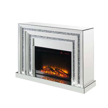 ACME 90523 Noralie Fireplace, Mirrored & Faux Diamonds