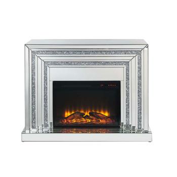 ACME Noralie Fireplace, Mirrored & Faux Diamonds