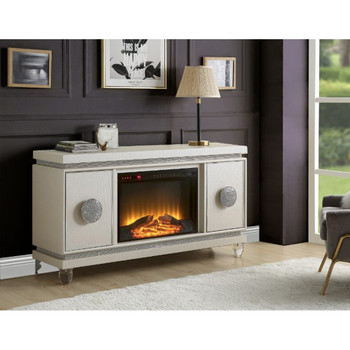 ACME Noralie Fireplace, Ivory PU & Faux Diamonds