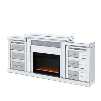 ACME Noralie Fireplace , Mirrored & Faux Diamonds