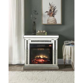 ACME 90862 Noralie Fireplace, Mirrored & Faux Diamonds
